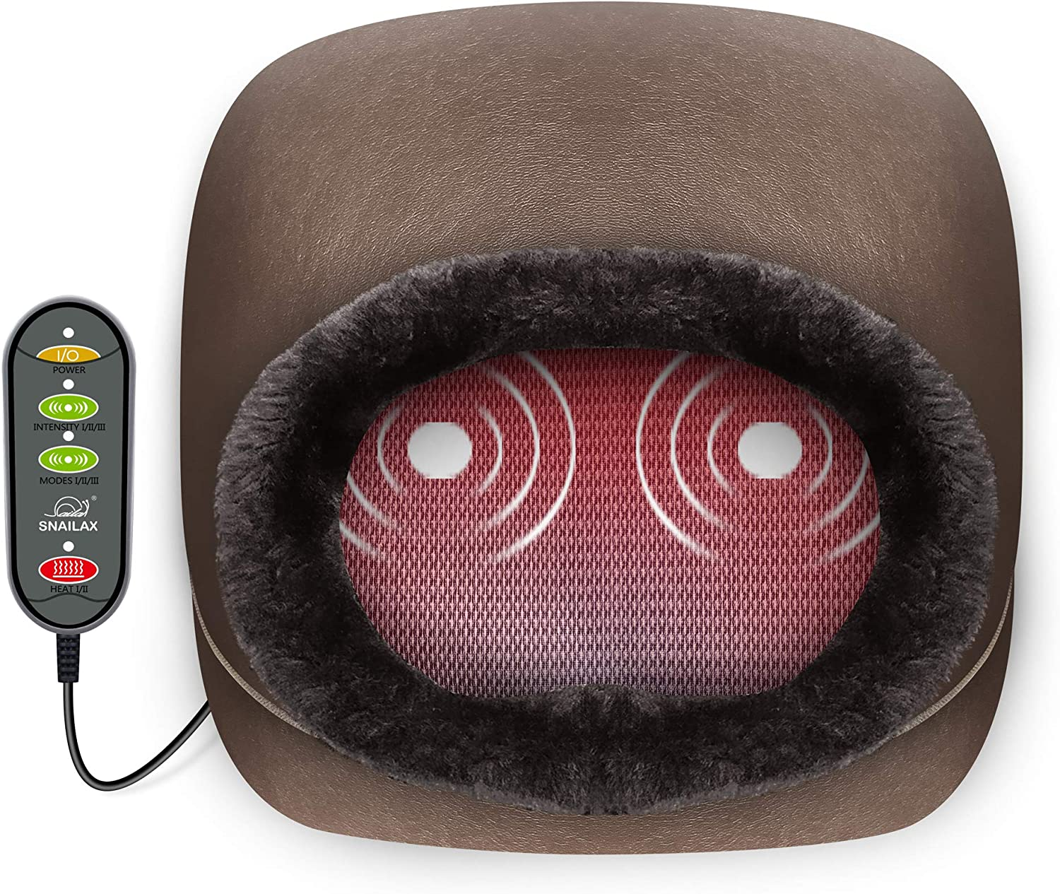 Snailax 3-in-1 Foot Warmer & Back Massager and Foot Massager with Heat, Vibration Massage with 2 Settings of Heating Pads, Feet Massage Machine for Foot,Leg,Back Pain Relief