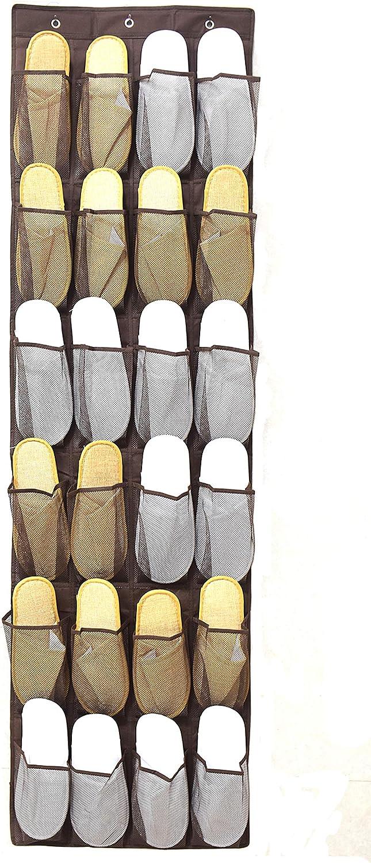 24 bolsillos grandes de malla soporte para calcetines de tela no tejida Organizador de zapatos para colgar sobre la puerta