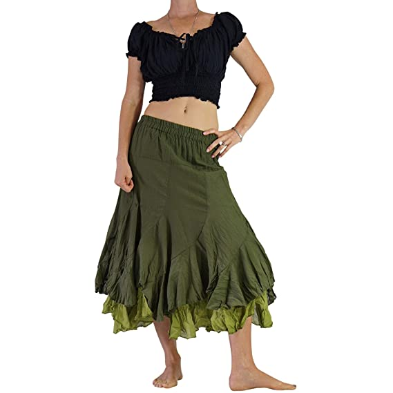Amazon.com: Zootzu - Falda gitana renacentista de dos capas ...