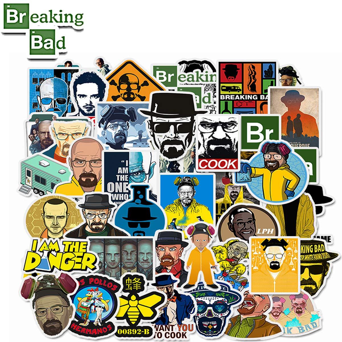 WOCOCO Breaking Bad Stickers, Waterproof Vinyl Stickers for Laptop, Water Bottles, HydroFlask (50 Pack)