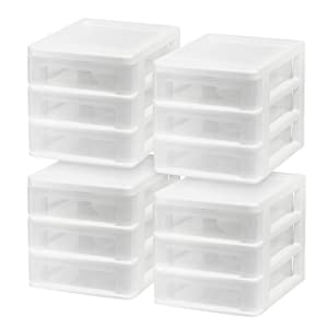 IRIS USA, Inc. CDD-XS3 Compact Desktop 3-Drawer System White 4 Pack