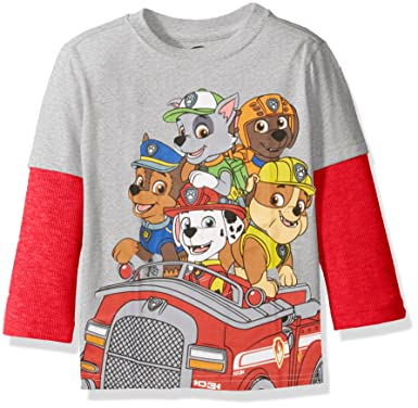 29ff6450 Paw Patrol Boys' Long Sleeve Two-Fer T-Shirt with Thermal Sleeves