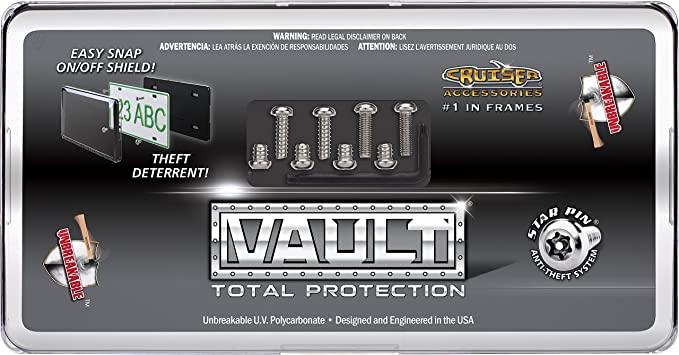 Cruiser Accessories 62736 Vault License Plate Shield//Cover Red//Clear