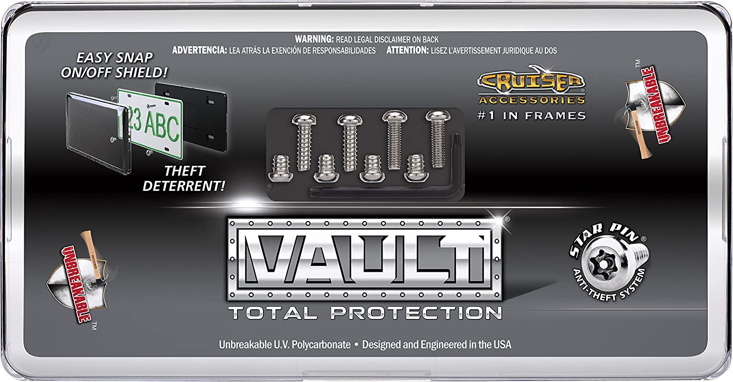 Cruiser Accessories 62700 Vault License Plate Shield//Cover Black//Clear