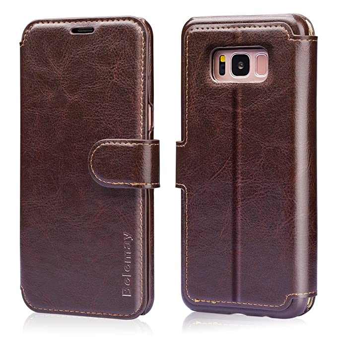 buy online bcb83 059de Belemay Samsung Galaxy S8 Case, Genuine Cowhide Leather Wallet Case,  Premium Folio Flip Book Cover with Magnetic Closure, Kickstand, Card Holder  ...