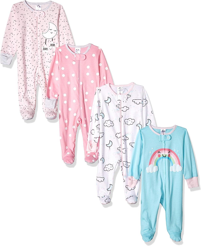 Gerber Baby Girls' 4 Pack Sleep N' Play Footies