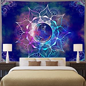 Ameyahud Mandala Tapestry Blue Starry Sky and Moon Tapestry Psychedelic Indian Tapestry Bohemian Hippie Tapestry Trippy Mandala Floral Tapestry Wall Hanging for Bedroom Dorm Decor