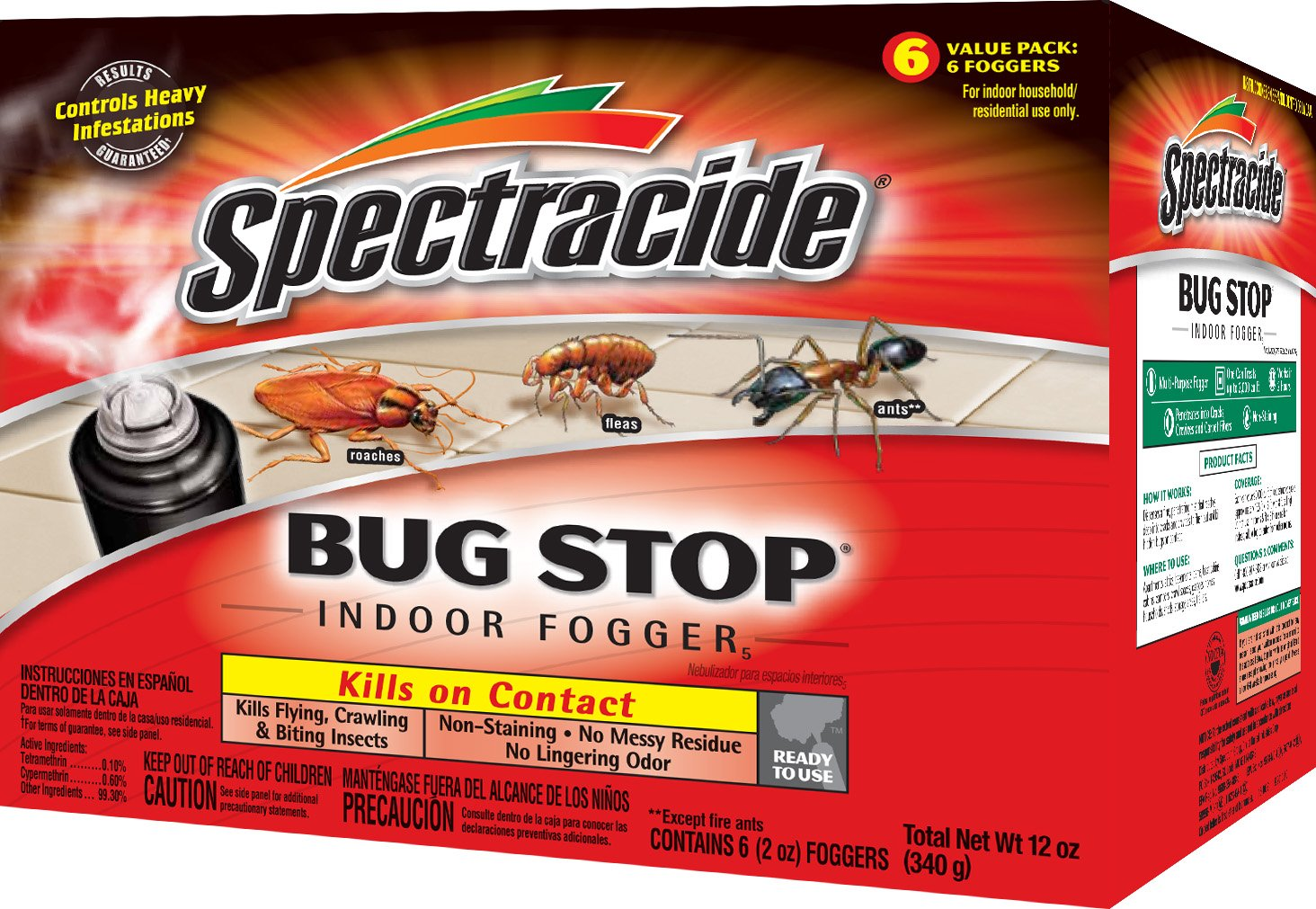 Spectracide Bug Stop Indoor Fogger5 (HG-67759) - Pack of 4 (6 Foggers in each pack)