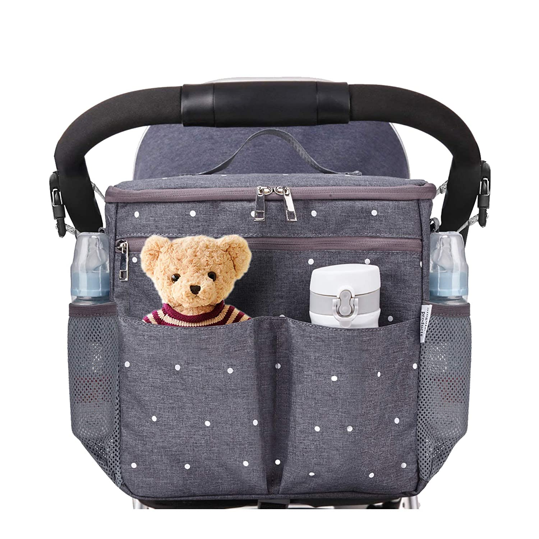 Stroller Organizer Travel Bag with Shoulder Strap Insulated Bottle Holder Lightweight Design Storage Pockets for Bottles, Diapers, Toys, Snacks, Saliva Towel-Fits All Baby Stroller Models. Singularity Products