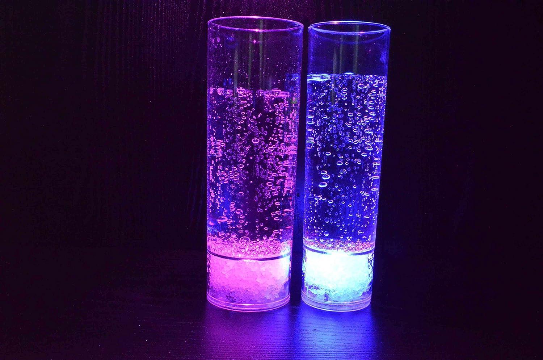 PRECORN 2er Set LED beleuchtetes Longdrinkglas Kunststoff 400ml Trinkglas Partyglas Hochzeit Silvesterparty