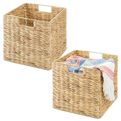 mDesign Juego de 2 cajas de almacenaje – Cajas organizadoras plegables hechas de junco marino –