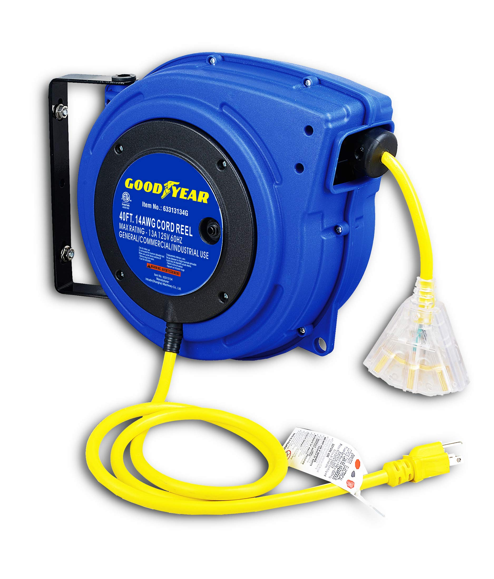 Goodyear Extension Cord Reel, 40 ft, 14AWG/3C SJTOW, Triple Tap with LED Lighted Connector, Heavy Duty by Goodyear