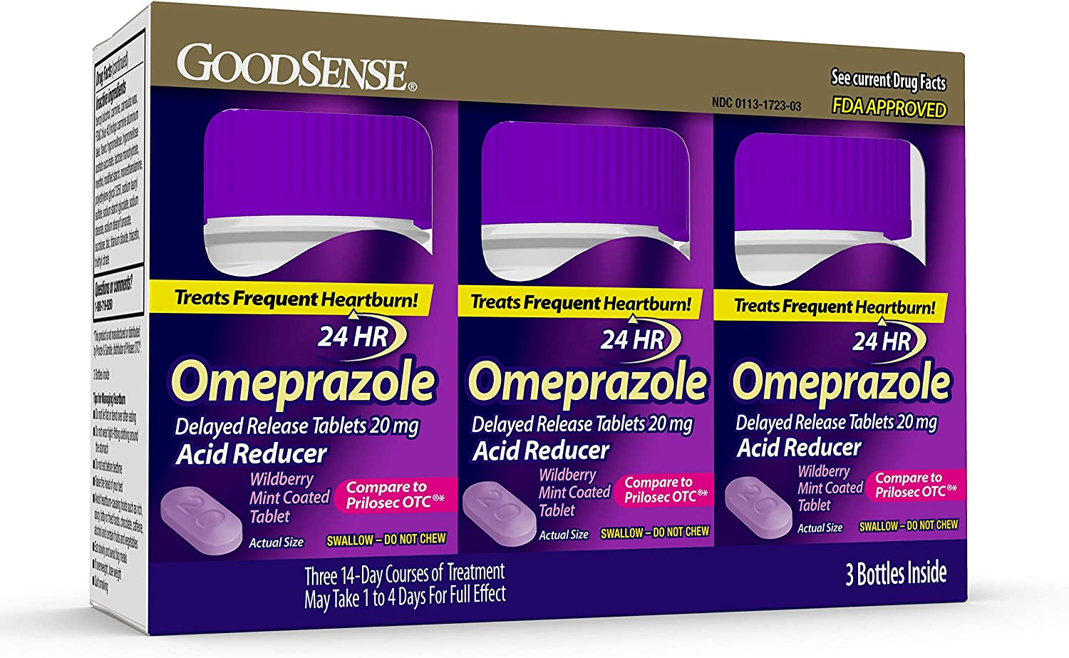 GoodSense Omeprazole Delayed Release Tablets 20 mg, Coated With Wildberry Mint Flavor, Acid Reducer, Treats Heartburn, 42 Count