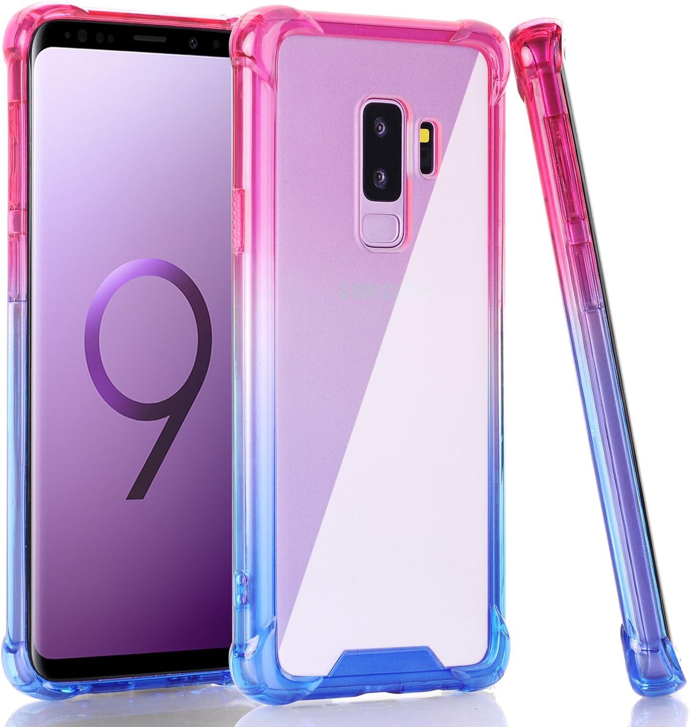 BAISRKE Galaxy S9 Plus Case, Shock Absorption Flexible TPU Soft Edge Bumper Anti-Scratch Rigid Slim Protective Cases Hard Plastic Back Cover for Samsung Galaxy S9+ Plus - Pink Blue Gradient