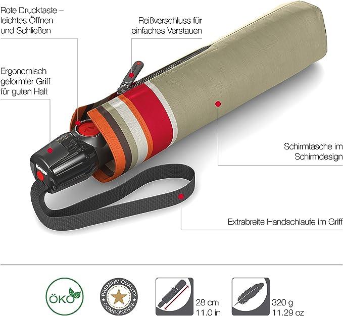 Knirps T.200 Medium Duomatic Animal Taupe Schirm Taschenschirm Regenschirm Grau