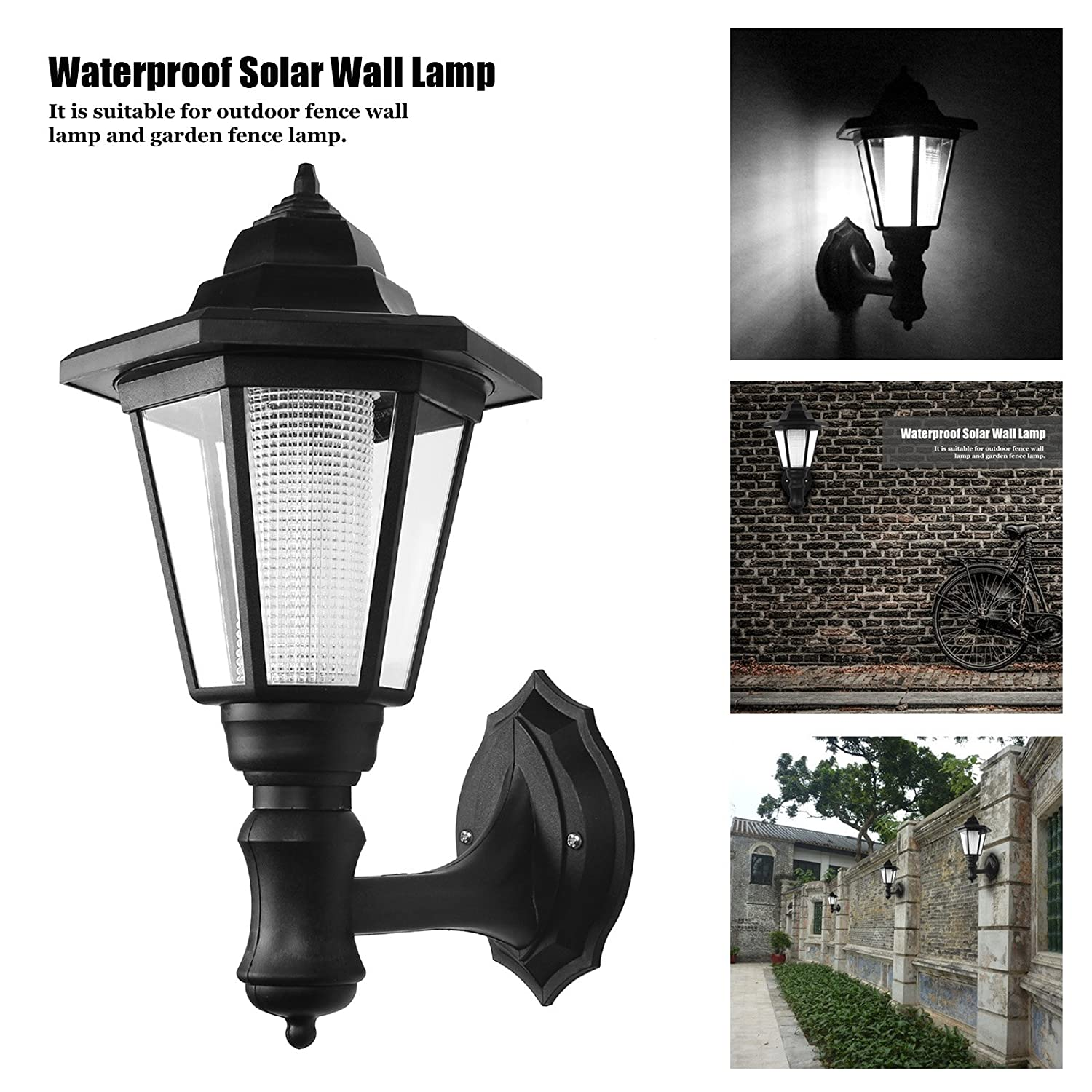Powstro solar powered wall lantern light lamp outdoor garden powstro solar powered wall lantern light lamp outdoor garden weatherproof led wall lamp hexagonal light lamp exterior sconce lantern lamp for outdoor aloadofball Image collections