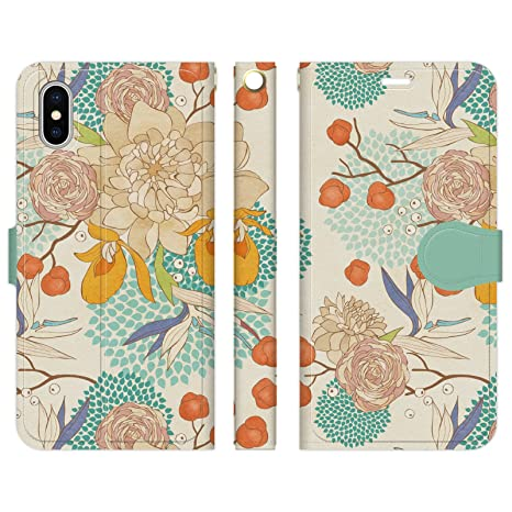 3f0f4fca14 Amazon | Ruuu iPhone XR 手帳型 スマホ ケース カバー レトロ 和柄 花 ...