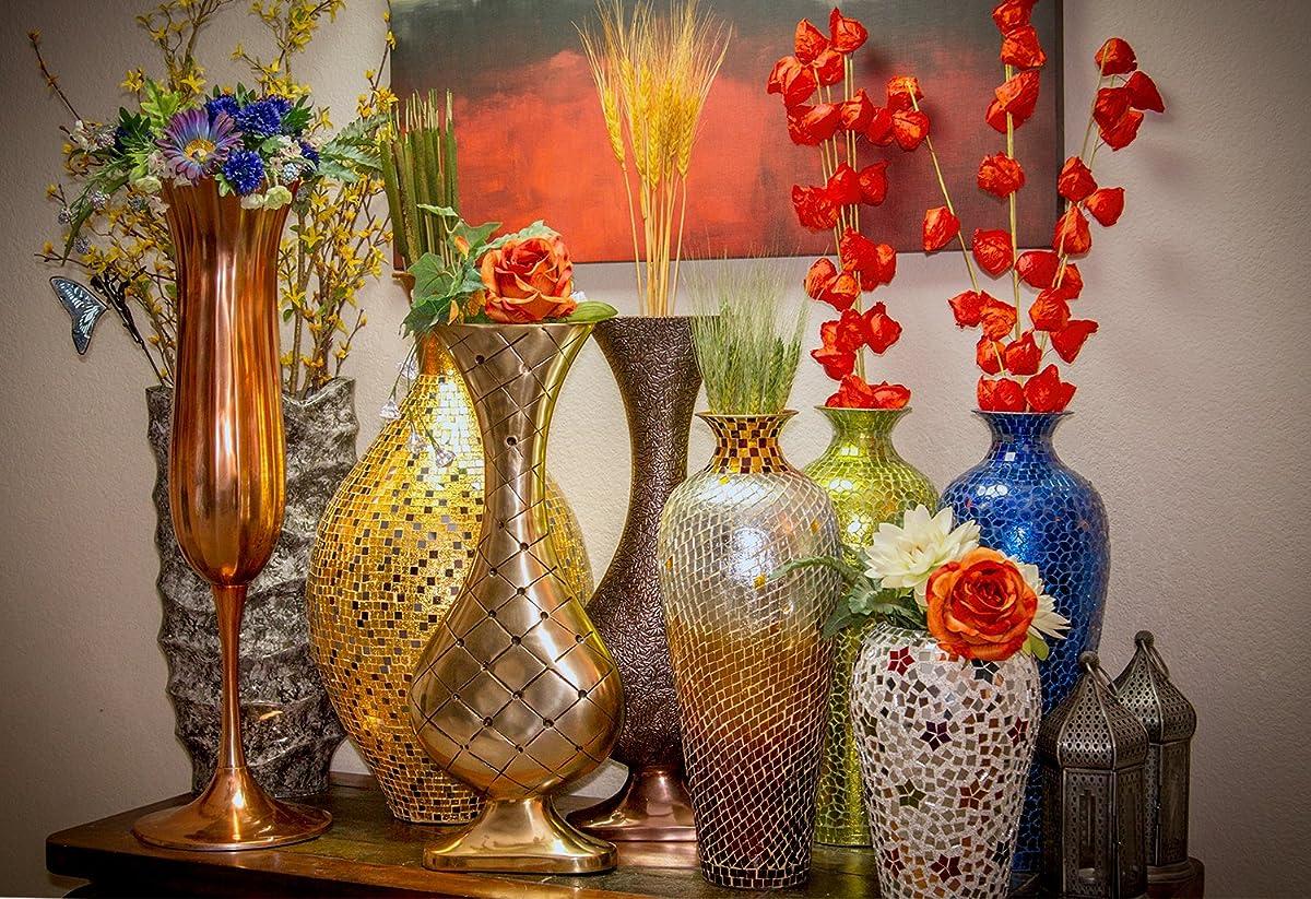 "DecorShore 20"" Amphora Nouveau Moorish Vase, Metal Floor Vase with Decorative Glass Mosaic Overlay (Chocolate Pearl Ombre)"