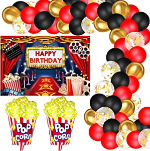 Hollywood Movie Theme Party Decorations, Large Fabric Hollywood Backdrop, Popcorn Foil Balloons Garland Arch Kit for Movie Night Birthday Party Event Awards Night Ceremony Photo Booth Background
