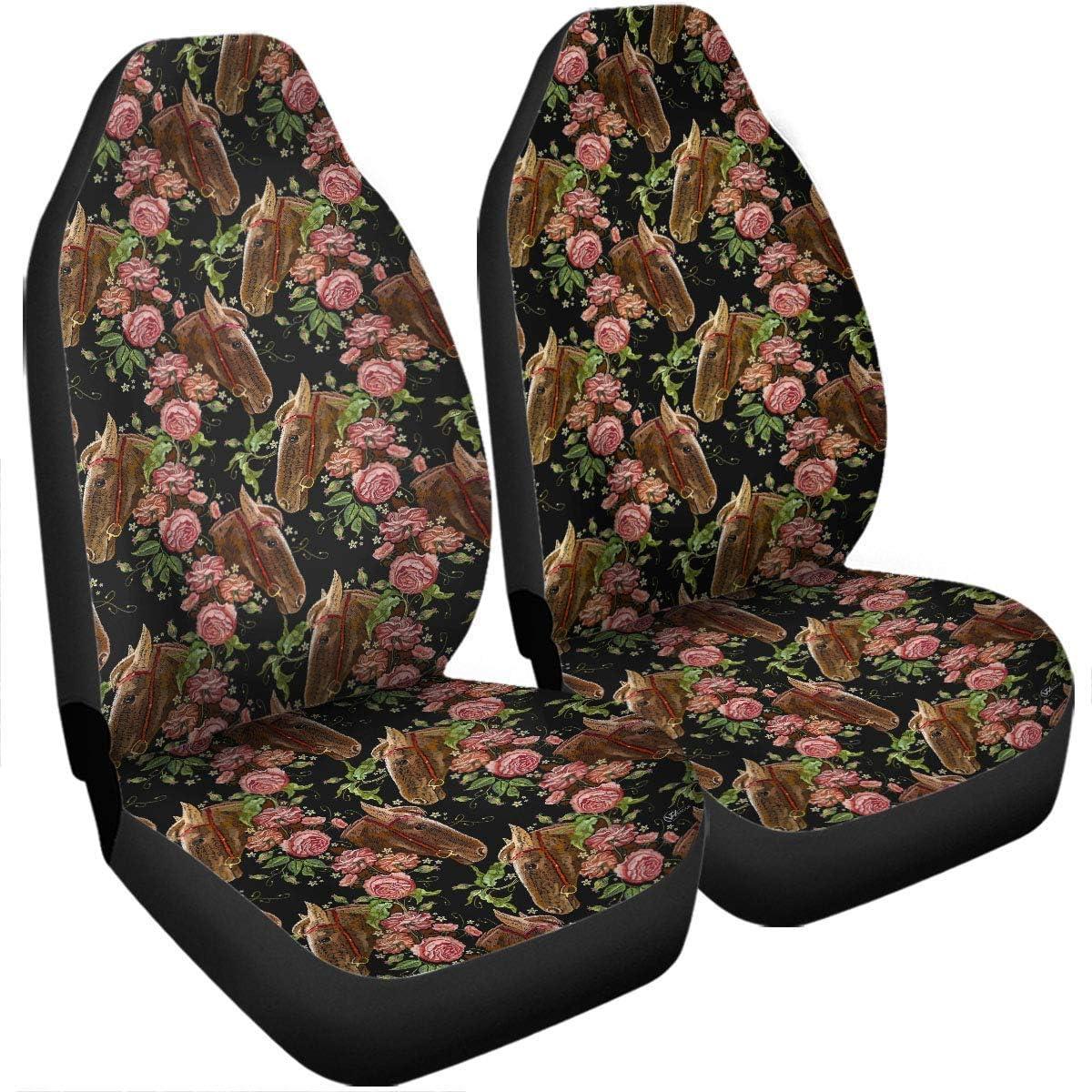 Drew Tours Fundas de Asiento compatibles con airbag de Caballo Vintage Floral, Accesorios de Coche, tamaño Universal, Apto para la mayoría de los Coches, SUV, Camiones