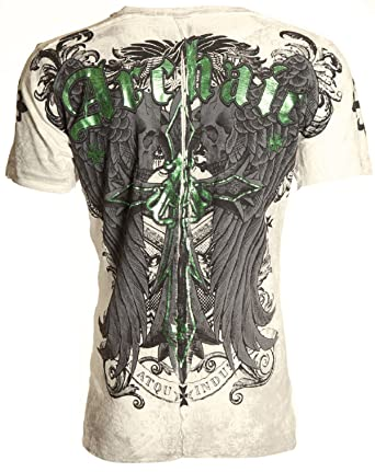 Affliction Archaic Mens T-Shirt Lustrous Skulls Wings Tattoo Biker UFC (Large)