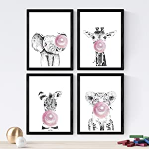 Nacnic Set of 4 Sheets of Animals Children with Rosa Chicle in 8'x11' Size, Poster Paper 250 gr. Frameless