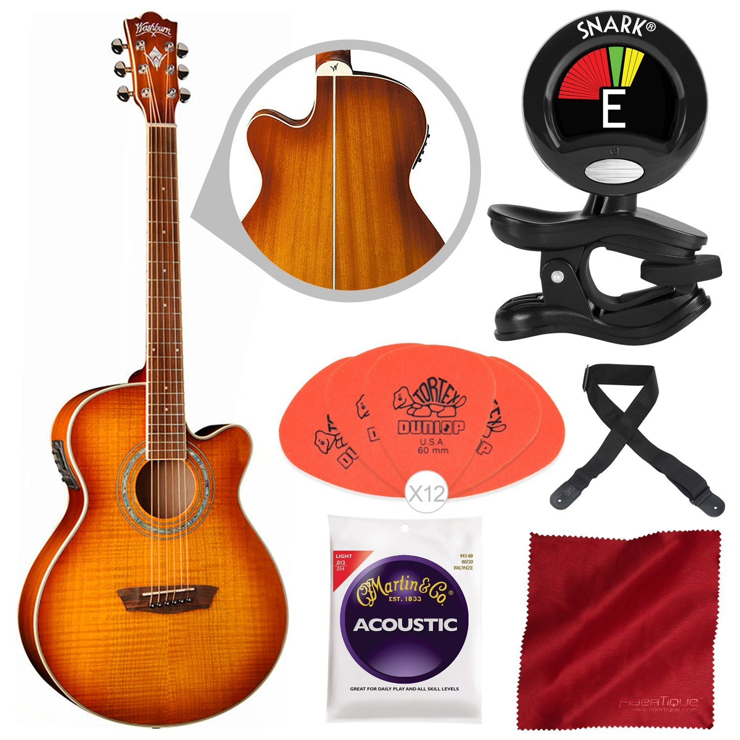 Washburn EA15ITB Festival Series Mini Jumbo Acoustic-Electric Guitar with Guitar Pick, Clip-On Tuner, and Accessory Bundle by Photo Savings