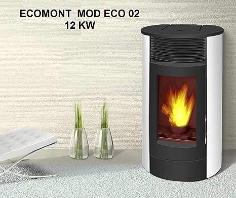 Estufa DE Pellet Modelo Eco 02 12 KW DE PONTECIA Maxima Color Blanco