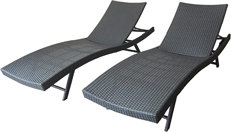 Round Folding Dining Table, Amazon Com Christopher Knight Home 304606 Arthur Outdoor Wicker Chaise Lounges Set Of 2 In Grey Garden Outdoor