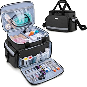 CURMIO Emergency Medical Supplies Bag, Home Health Aid Bag with Shoulder Strap and 2 Detachable Dividers for Nurse, Physical Therapists, Doctors, Home Health Staffs, Black (Bag ONLY)