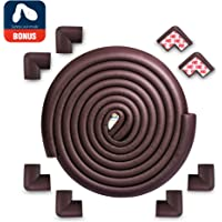 Edge Protector for Baby Corner Guard Edge & Corner Guards [2M Edge + 6 Corner] -10s to Install- Premium High Density Baby Proof Table Protector-Corner Cushion and Edge Safety Bumpers - Brown (Black)