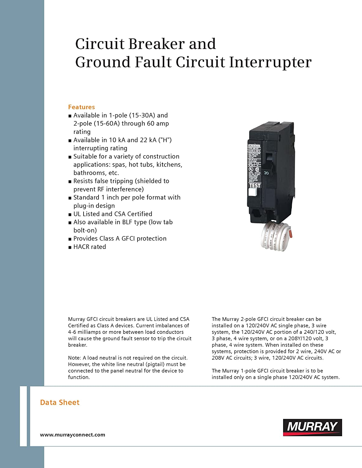 Murray Mp120gf 20 Amp 1 Pole 120 Volt Ground Fault Circuit Gfi Wiring Diagram Interrupter