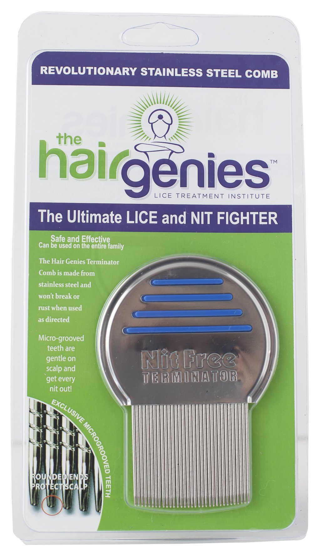 Hair Genies Lice Prevention Terminator Comb, The Best Lice Comb, Head Lice Comb, Lice Treatment Comb for Kids & Adults, Lice Removal Comb, Rid Lice with Metal Comb, Safe, Gentle on Hair and Scalp