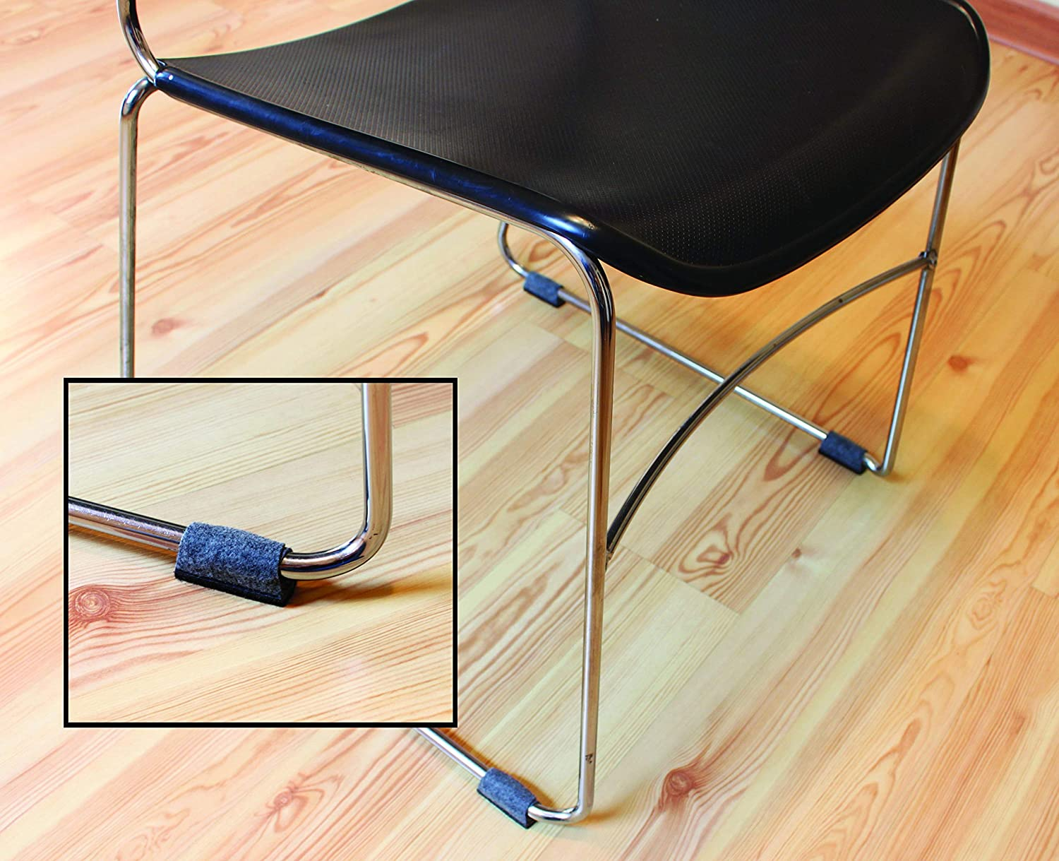 Wrap Around Floor Savers for Chairs with Sled Bases 16 Pack Grey Small Shaw