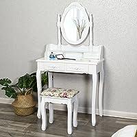 Songmics Schminktisch 4 schubladen mit spiegel und hocker, Holz, weiß, 145 x 75 x 40 cm