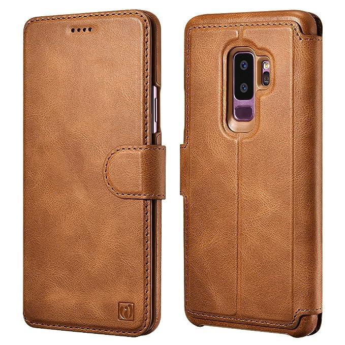 online store e7709 a050e Galaxy S9 Plus Case, ICARER Detachable Genuine Leather Wallet Case  [Detachable Folio] Flip Folio Book Cover with Card&Cash Slots Kickstand  Feature and ...