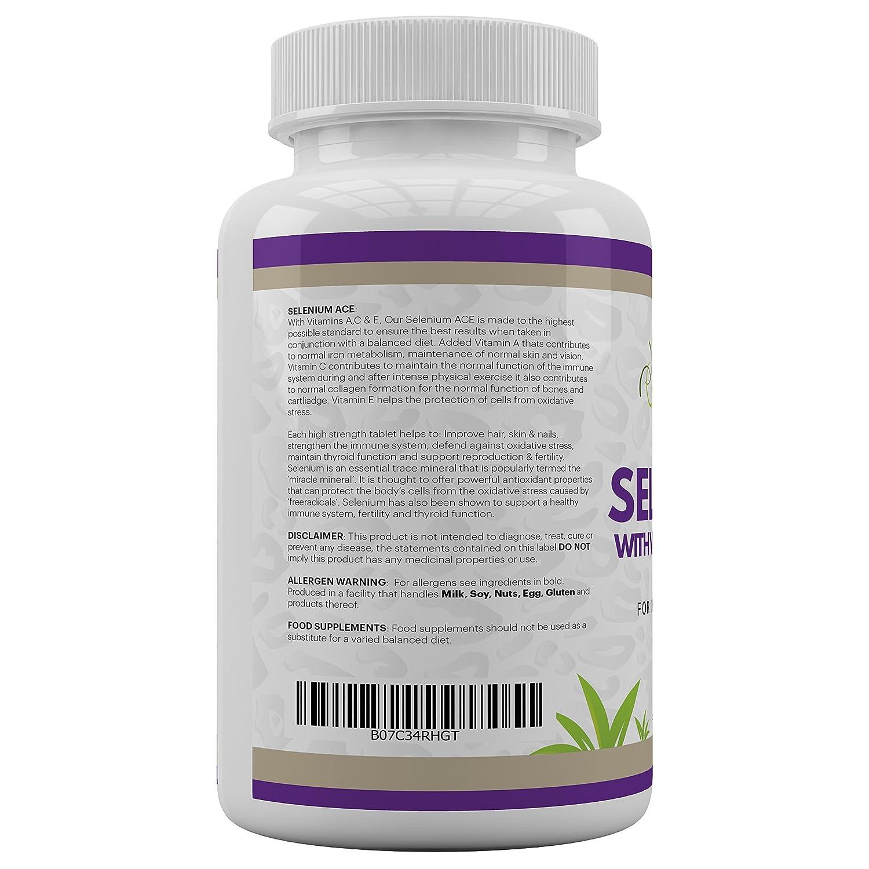 SELENIO ACE por JeaKen - Selenio de alta calidad + vitaminas A, C, E para la fertilidad, la función tiroidea, la inmunidad y la energía - Mejora el cabello, ...