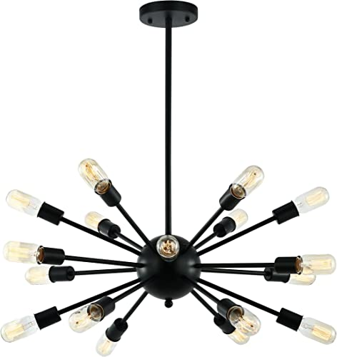Light Society Sputnik 18-Light Chandelier Pendant, Matte Black, Mid Century Modern Industrial Starburst-Style Lighting Fixture LS-C115-BLK