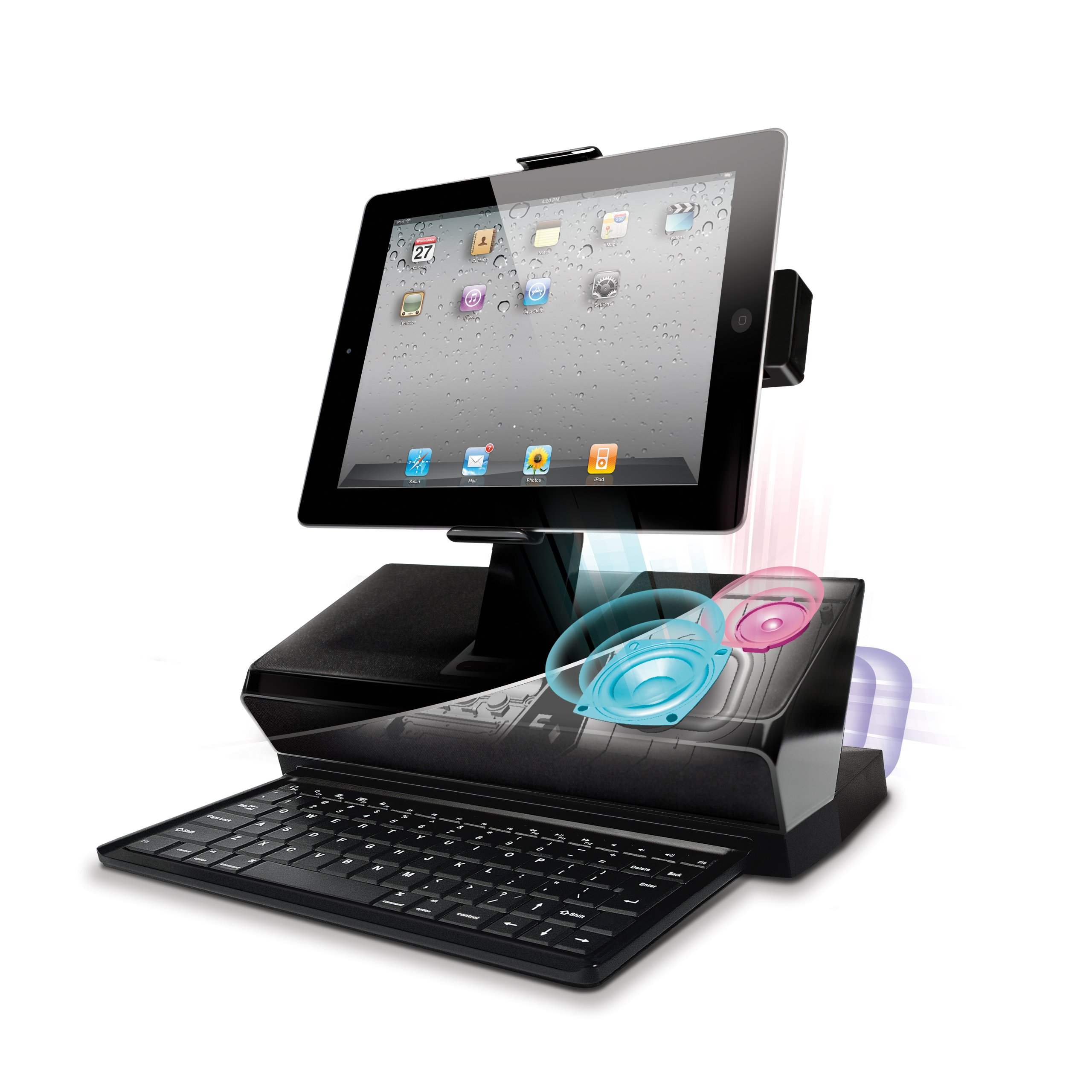 iLuv WorkStation Mobile Computing Station with Dock, Keyboard and Audio for Apple iPad, iPhone and iPod Touch (iMM737BLK) by iLuv