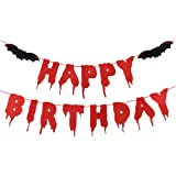 Red Glittery Happy Birthday Halloween Banner Scary Bloody Banner For Halloween Zombie Vampire Party Decorations Supplies