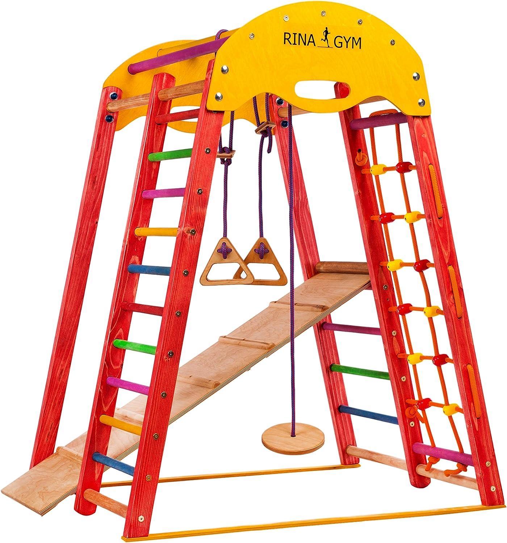 RINAGYM Gimnasio Juegos - De Madera para Interior yEscuela - Niños de 1 a 5 años y + - Red para Escalar, Escalera Sueca, Anillos Columpios, Tobogán - Marco Seguro de Madera Abedul - Capacidad 60kg
