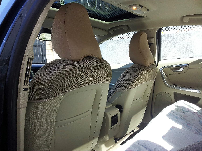Uno para el asiento del conductor hechas de cuero sint/ético y sint/éticos uno para el asiento del acompa/ñante Set de fundas para asientos de autom/óvil Beige aptas
