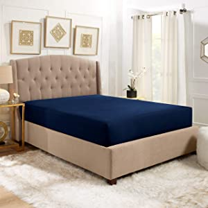 """Empyrean Bedding 14"""" - 16"""" Deep Pocket Fitted Sheet for Standard Mattress – Hotel Luxury Silky Soft Double Brushed Microfiber Sheet – Hypoallergenic Wrinkle Free Cooling Bed Sheet, Queen - Navy"""