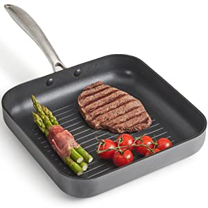 VonShef Premium Hard Anodized Ridged Aluminum Grill Pan, 10 Inches With Nonstick Interior, Gray