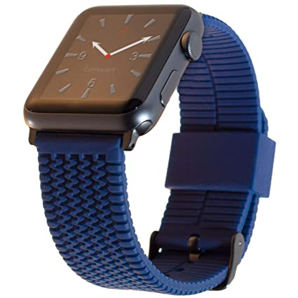 Carterjett Replacement Apple Watch Band 38mm 40mm Silicone Sport Wrist Strap Navy Blue Tire Tread iWatch Band Gray Buckle Adapters Compatible Apple ...