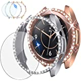 [2+1Pack] Tensea Compatible for Samsung Galaxy Watch 3 Screen Protector and Bling Case 41mm, 2Packs PC Diamond Covers and 1Pa