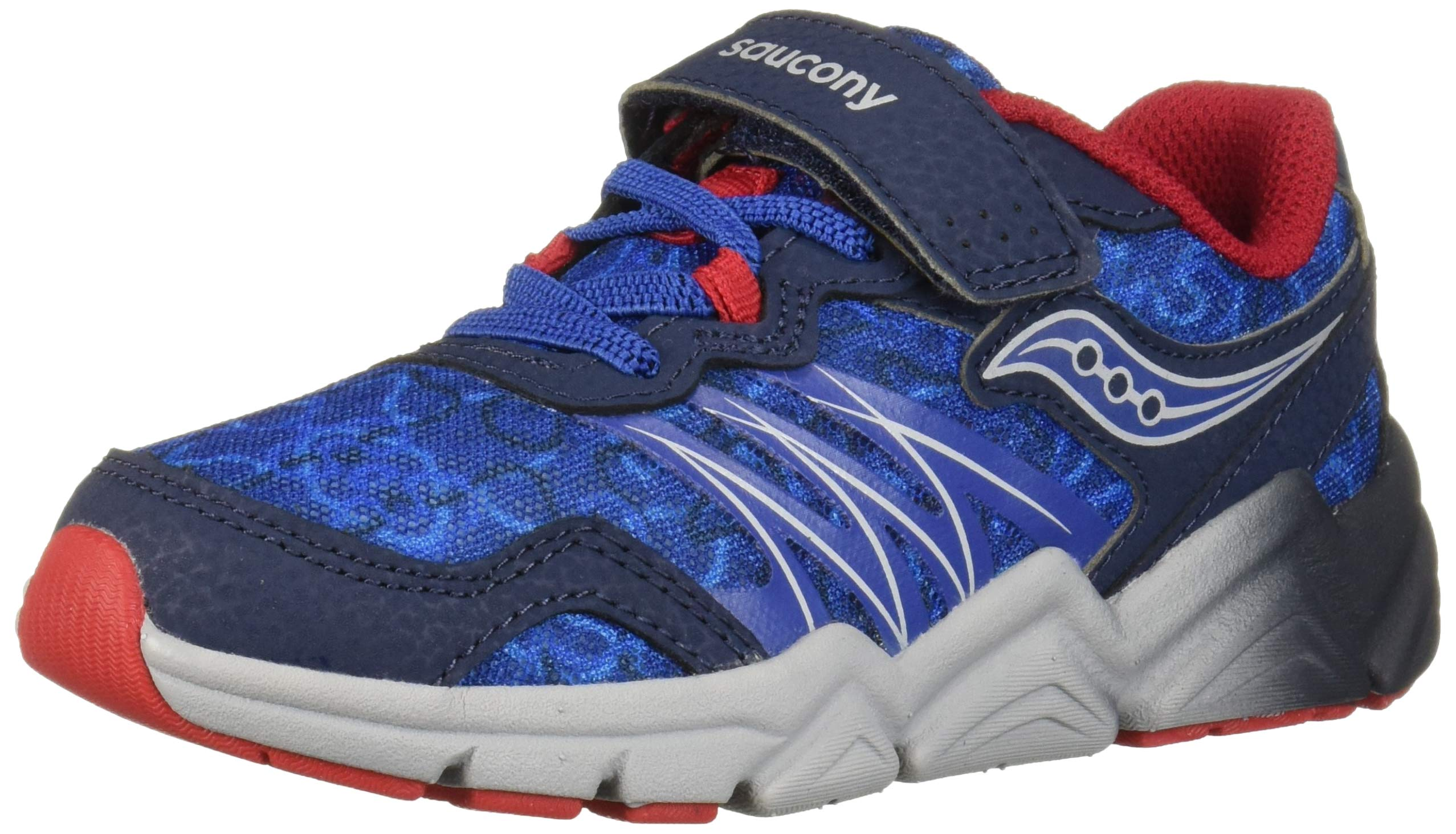 Saucony Boys' Flash A/C Sneaker, Navy/Red, 2 W US Little Kid