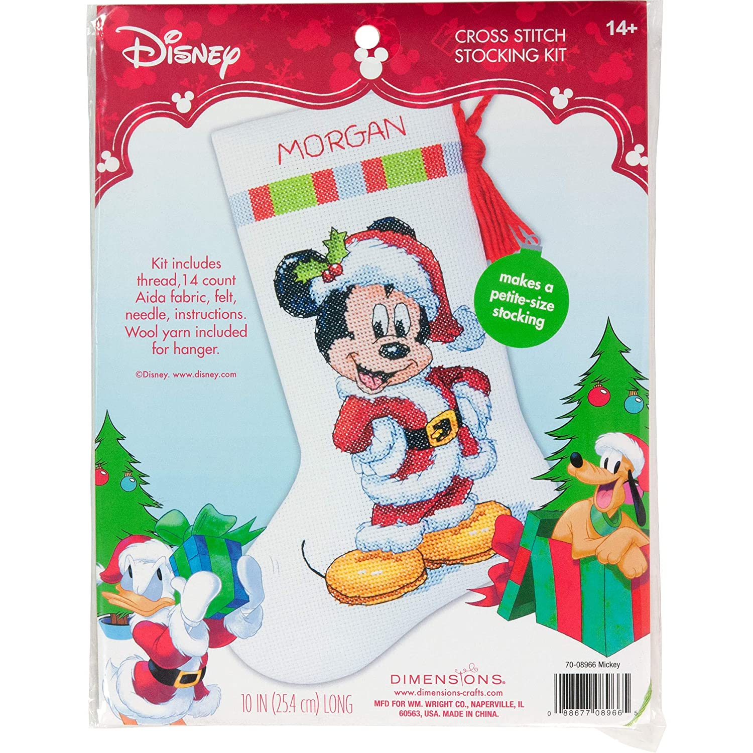 Disney Cross Stitch Christmas Stocking Patterns.Dimensions Mickey Mouse Christmas Stocking Counted Cross Stitch Kit For Beginners 14 Count White Aida Cloth 10 L