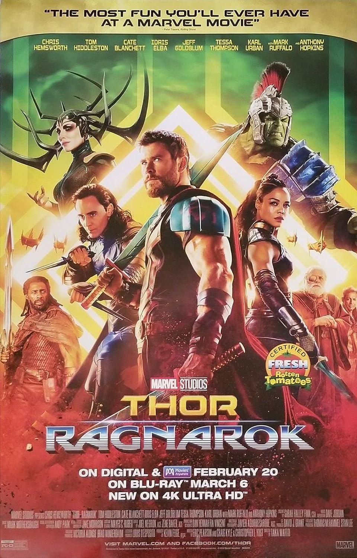 Amazon Com Thor Ragnarok 26 X40 Original Dvd Release Movie Poster Chris Hemsworth 2018 Entertainment Collectibles