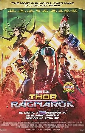 "Amazon.com: THOR: RAGNAROK - 26""x40"" Original DVD Release Movie Poster  Chris Hemsworth 2018: Entertainment Collectibles"